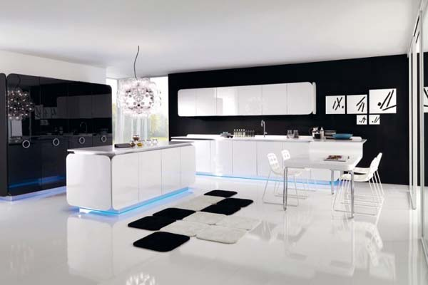 Modern kitchen design idea with black and white themes for Black and white modern kitchen designs