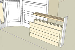 A better knife block. Redesigning the narrow cabinet next to the stove into a custom cutlery collector brings order and safety to the kitchen.